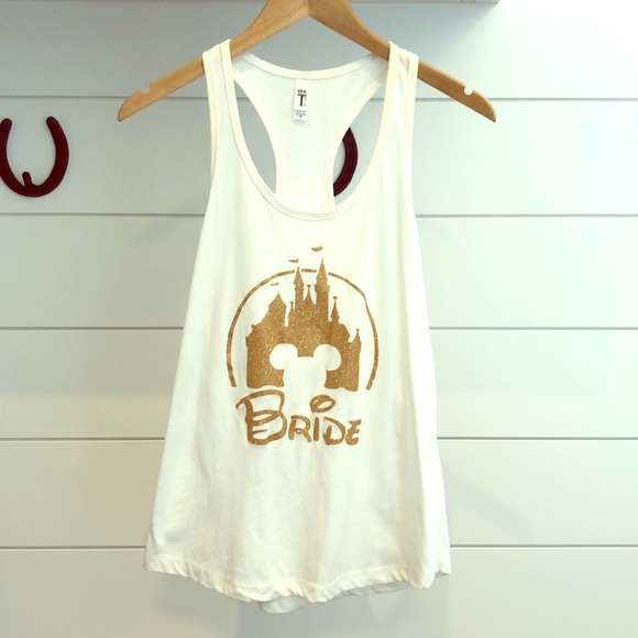 "White Flowy Racer Back Disney ""Bride"" Tank Top."